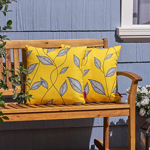 Christopher Knight Home 307168 Kama Outdoor Cushions Set of 2 , Yellow