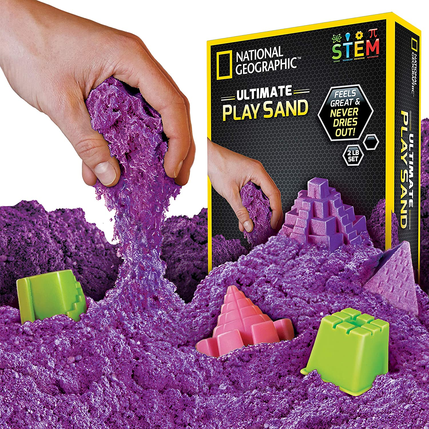 National Geographic Play Sand Blue - A Kinetic Sensory Activity 900 Grams of Sand with Castle Moulds and Tray