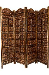 Orientalischer Paravent Raumteiler Aus Holz Kamala 200 X 180cm Hoch In  Braun | Indischer Trennwand Als