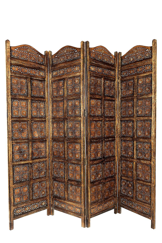 Orientalischer Paravent Raumteiler Aus Holz Kamala Braun 200 X 180cm