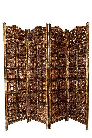 Orientalischer Paravent Raumteiler Aus Holz Kamala 200 X 180cm Hoch