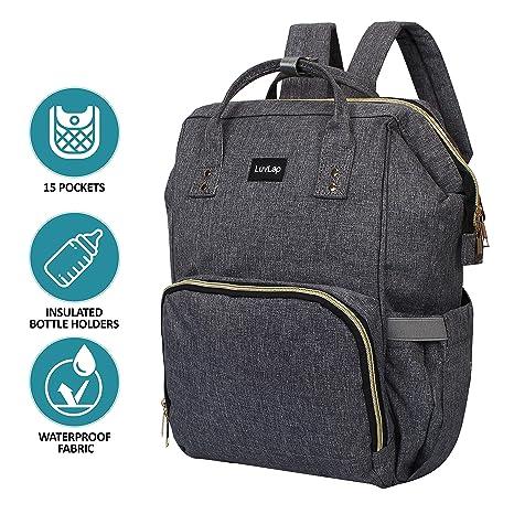 LuvLap Lily Travel Multifunctional Waterproof Diaper Bag-Backpack Cum Tote Bag (Grey)