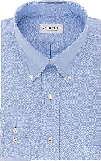 قميص رسمي بقصة عادية ولون واحد وقبة مزودة بزر سفلي من قماش اوكسفورد للرجال من فان هيوزن