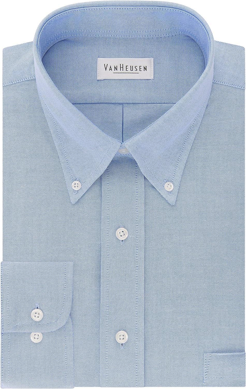 Van Heusen Men's Dress Shirt Regular Fit Oxford Solid Buttondown Collar