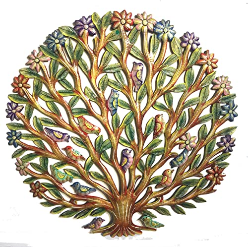 Tree of Life with Finches and Flowers – Antique – 24 inch – Haitian Metal Drum Art 24 inch