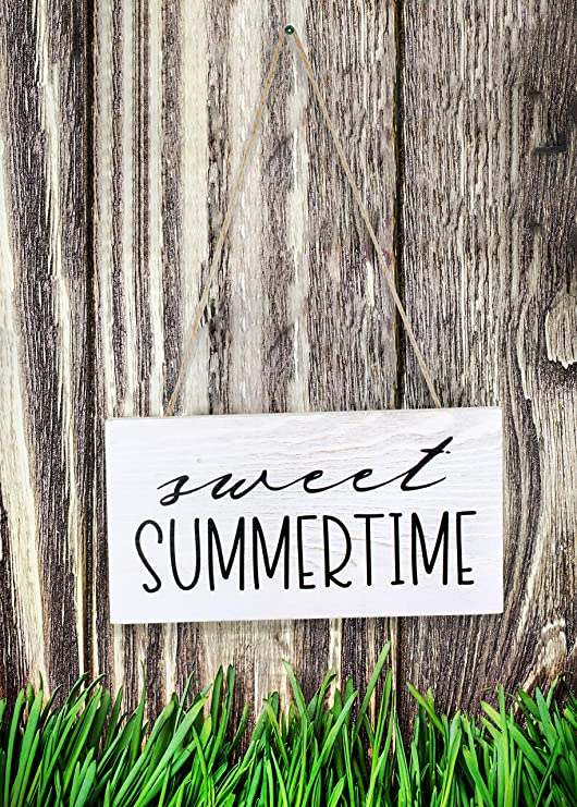 Summer Rustic Distressed White Wooden Plaque AuldHome Sweet Summertime Wood Sign