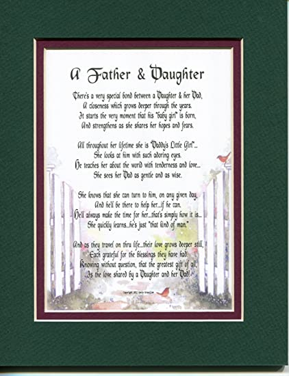 A Father And Daughter Fathers Day Gift Poem Christmas Birthday Present For Dad