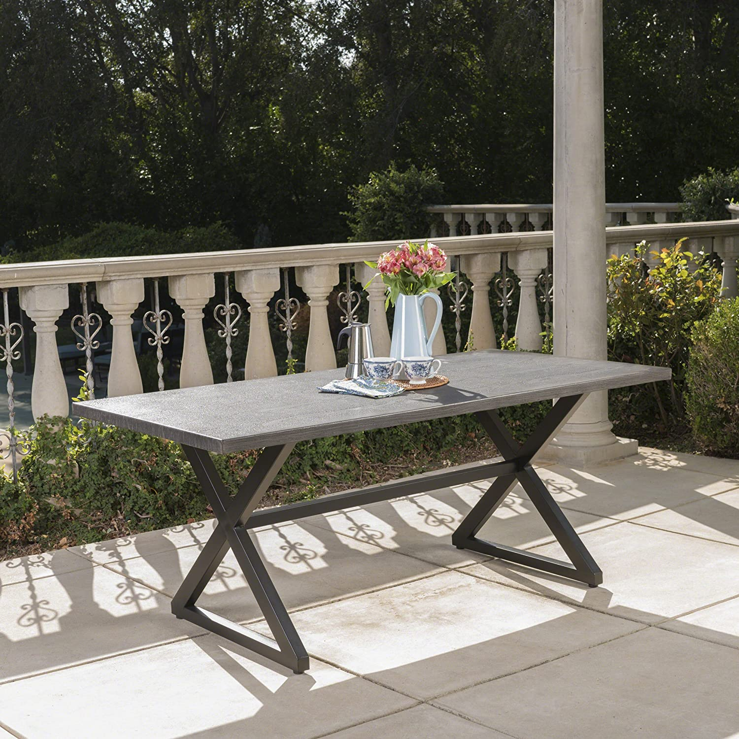Christopher Knight Home 302486 Rolando Outdoor Grey Aluminum Dining Table with Black Steel Frame