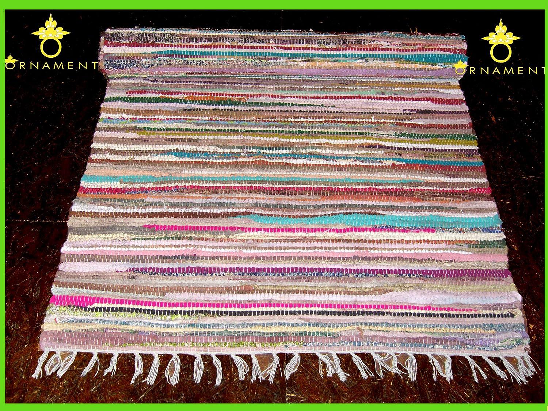 ORNAMENT Fleckerlteppich Handgewebt 200 x90 cm Kelim Beidseitig nutzbar 2000g m Flickenteppich Fleckerlteppich Läufer
