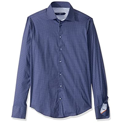 Stone Rose Men's Cotton Stretch Geometric Print Long Sleeve Shirt at Men's Clothing store