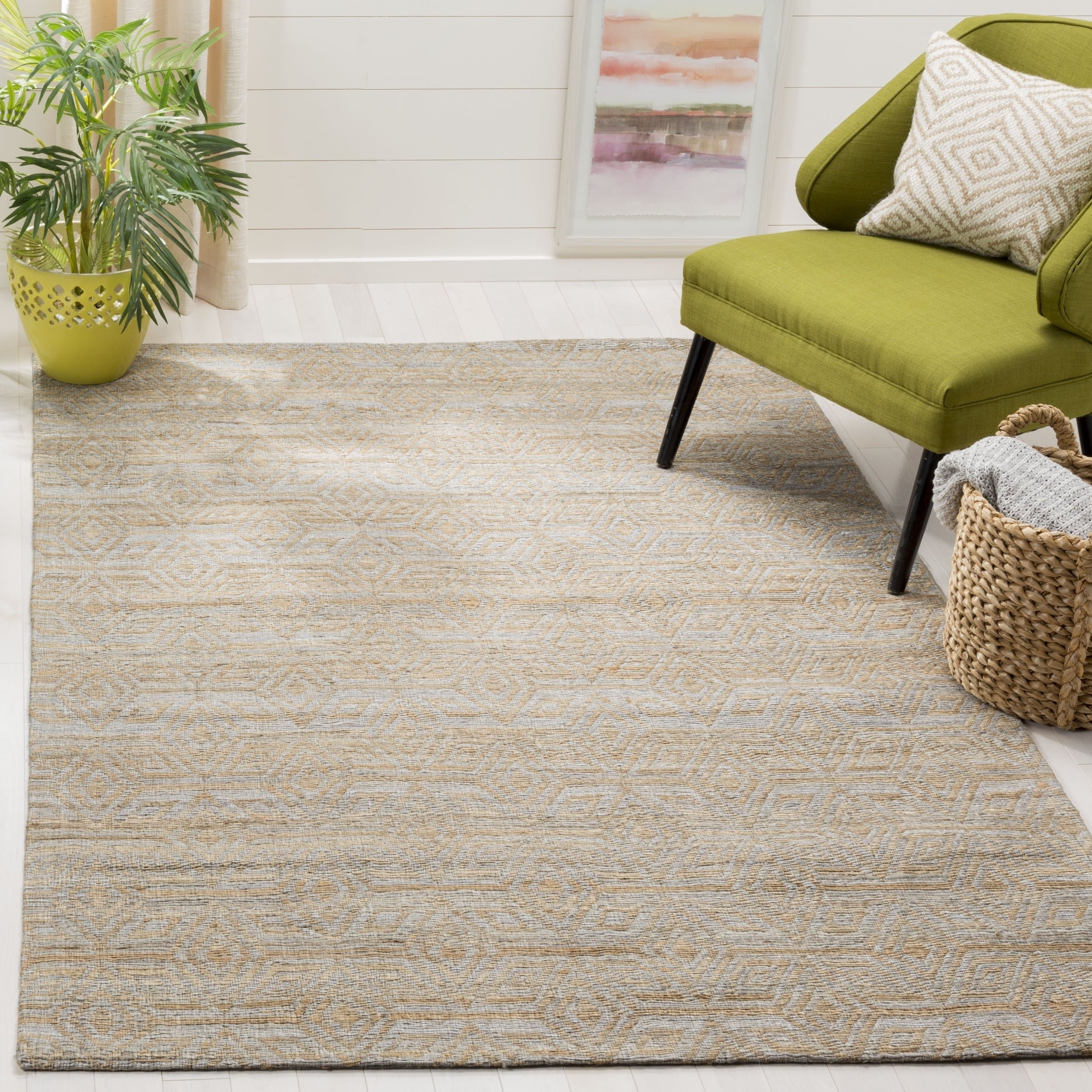 Safavieh Cape Cod Collection CAP412A Hand Woven Geometric Grey and Sand Jute and Cotton Area Rug (5' x 8') by Safavieh