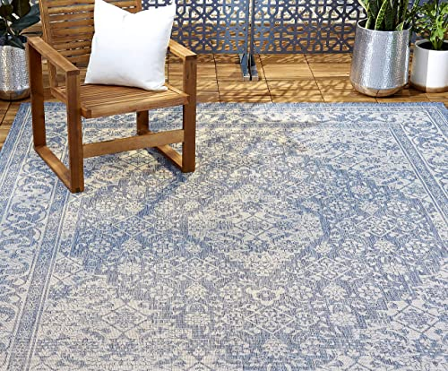 Home Dynamix Nicole Miller Patio Country Dahlia Indoor Outdoor Area Rug 7 9 x10 2 , Traditional Medallion Blue Gray