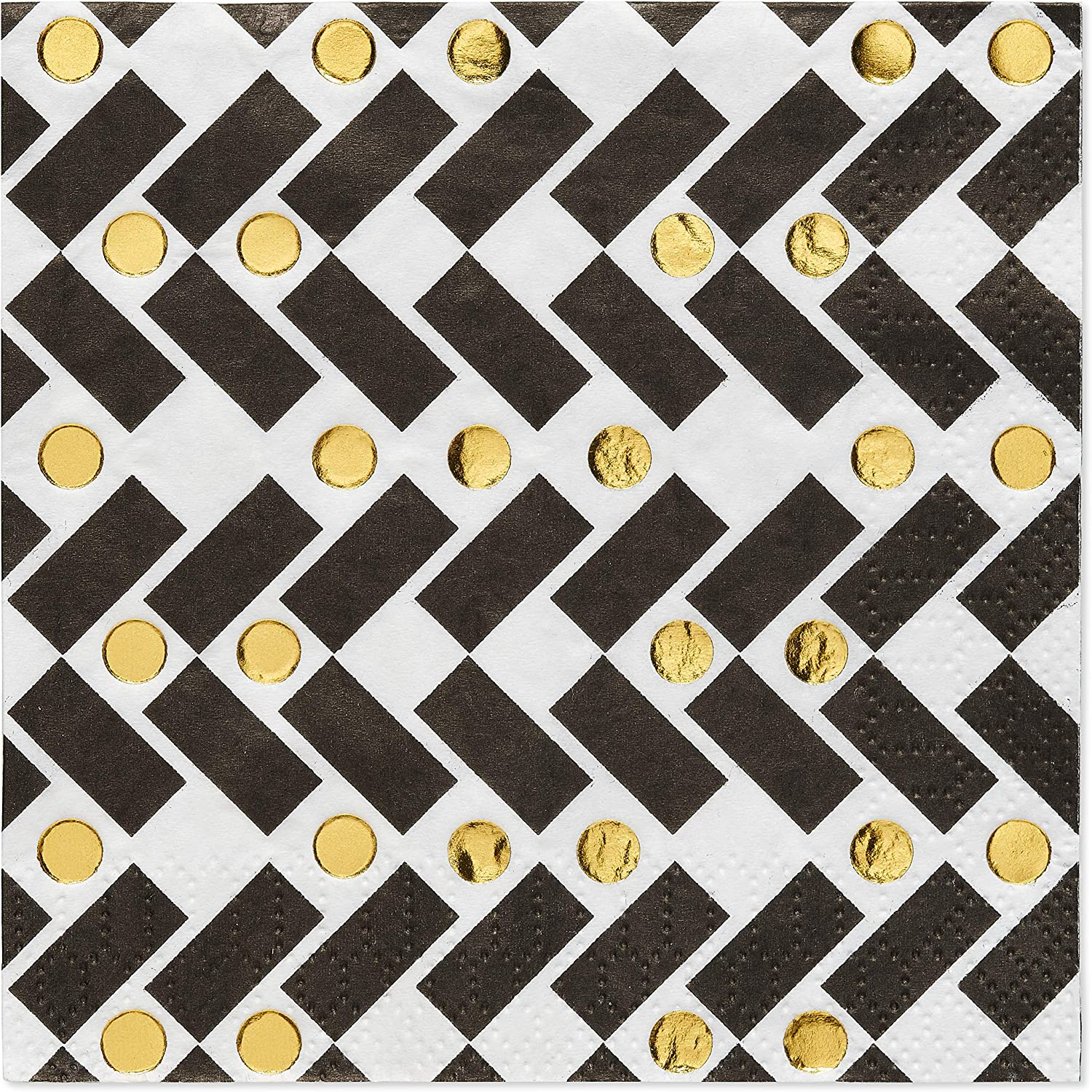 Papyrus Party Supplies Beverage Napkins, Black and Gold Rush (20-Count)