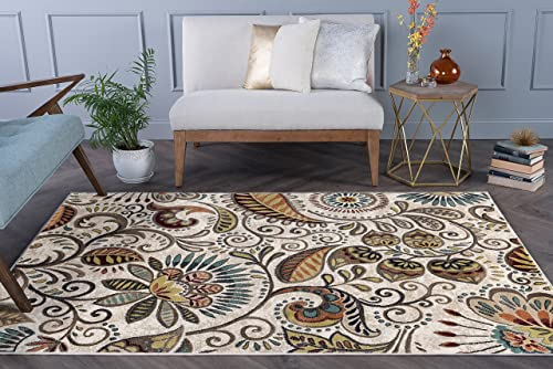 Giselle Transitional Floral Ivory Rectangle Area Rug