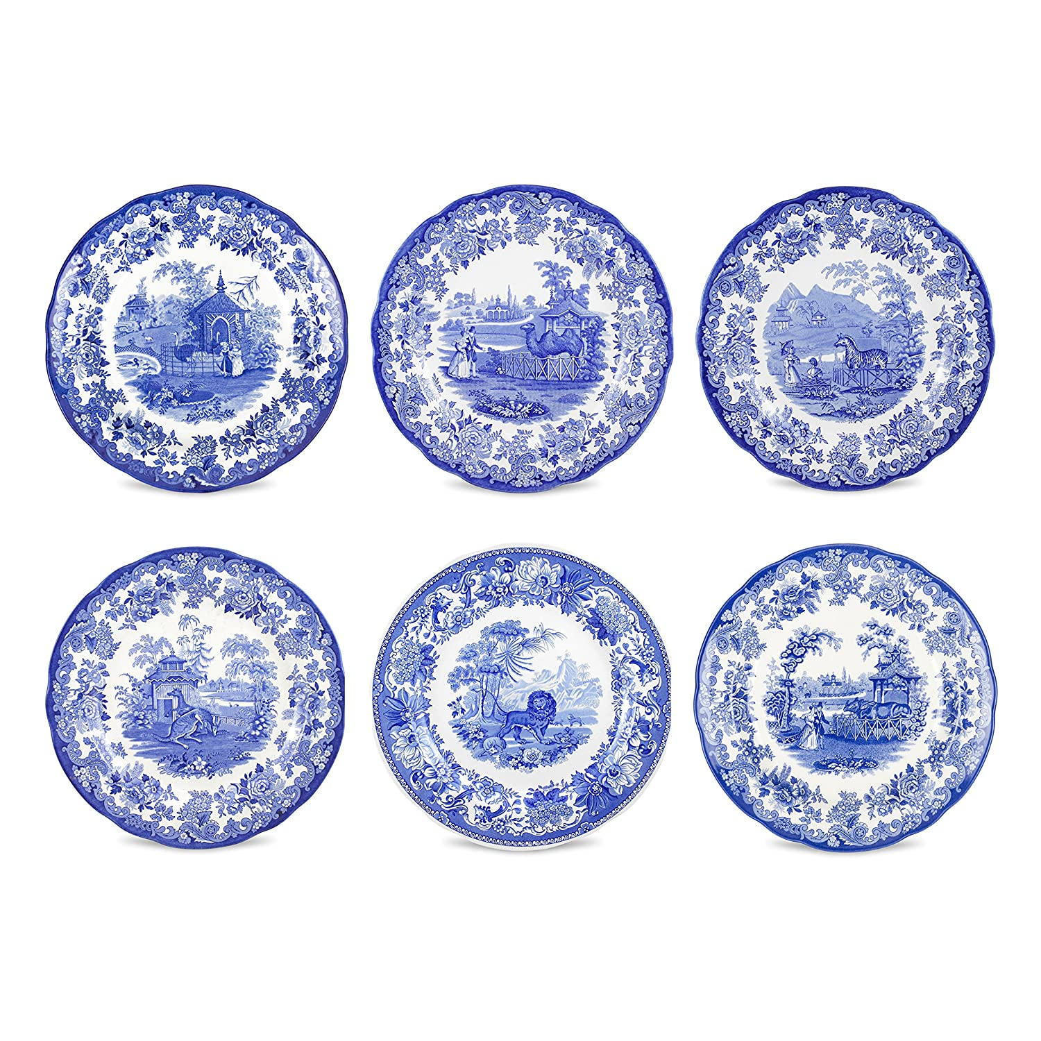 Amazon.com | Spode Blue Room Zoological Plates Set of 6 Assorted Motifs Dinnerware Accent Plates  sc 1 st  Amazon.com & Amazon.com | Spode Blue Room Zoological Plates Set of 6 Assorted ...