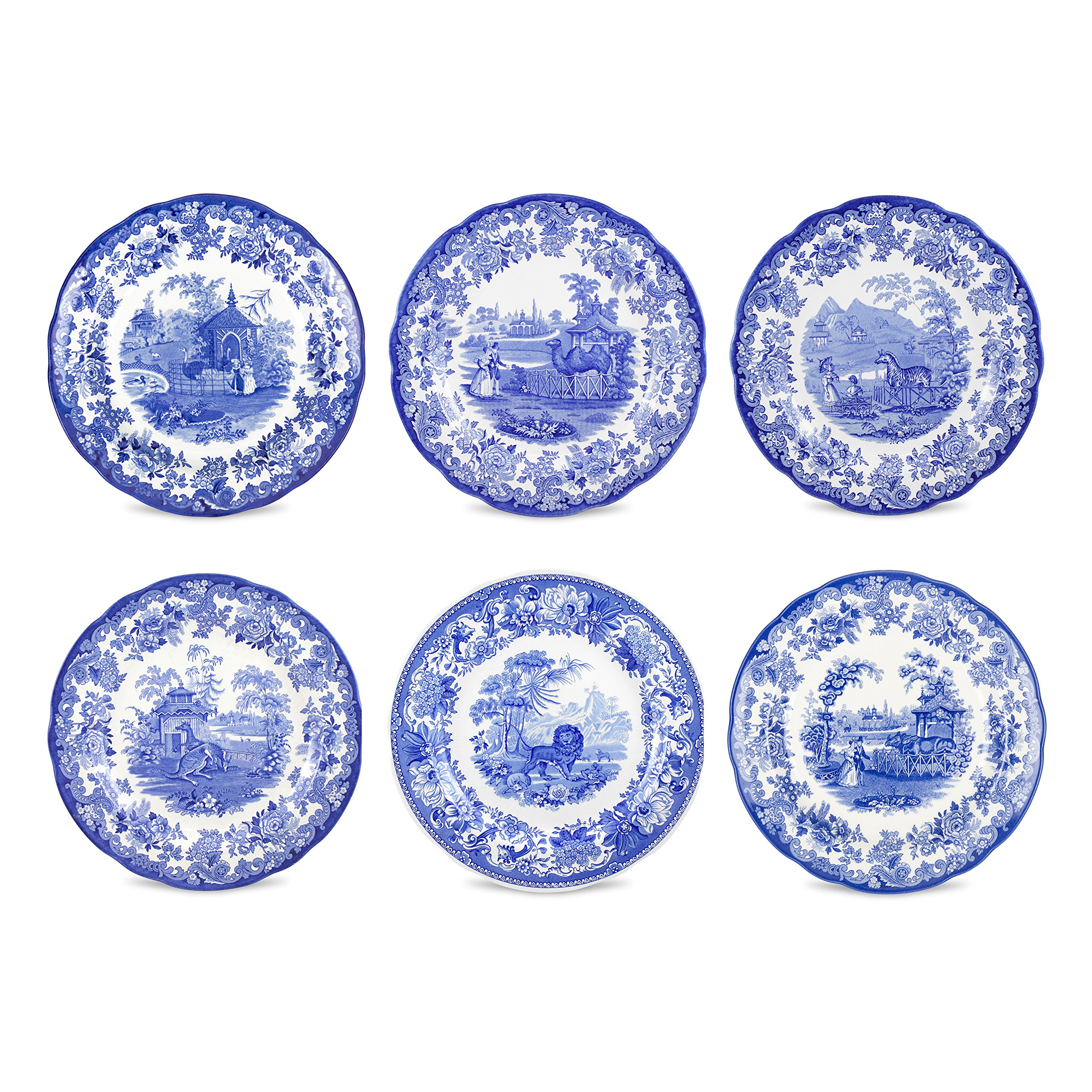 Spode Blue Room Zoological Plates, Set of 6 Assorted Motifs