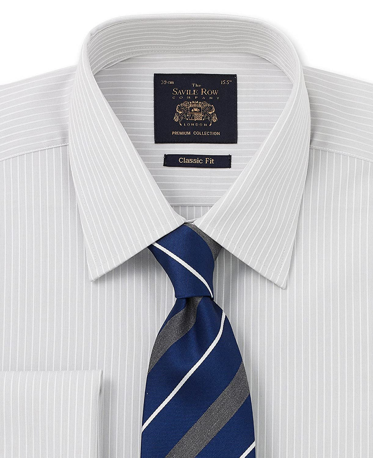 "Savile Row Men's Luxury/Premium Grey White Satin Stripe Classic Fit Shirt Single Or Double Cuff 17 1/2"" Extra Long Dou"