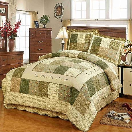 Amazon.com: Wowelife Cotton Quilt Sets Handmade Patchwork 3 Pieces ... : cotton quilts queen size - Adamdwight.com