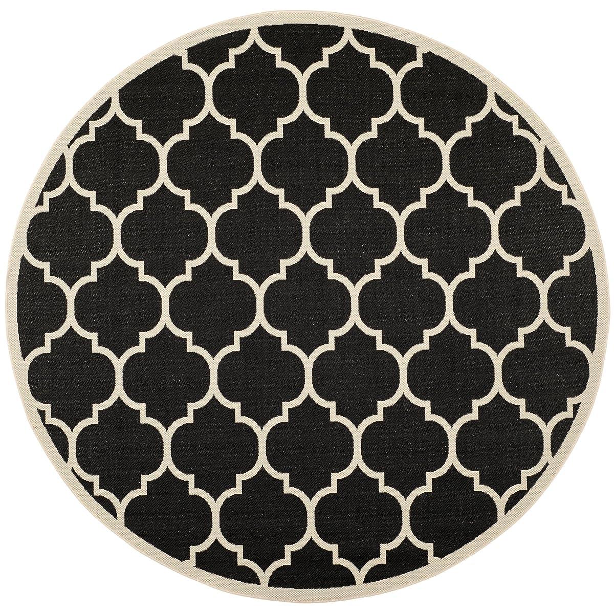 "Safavieh Courtyard Collection CY6914-266 Black and Beige Indoor/ Outdoor Round Area Rug (53"" Diameter)"