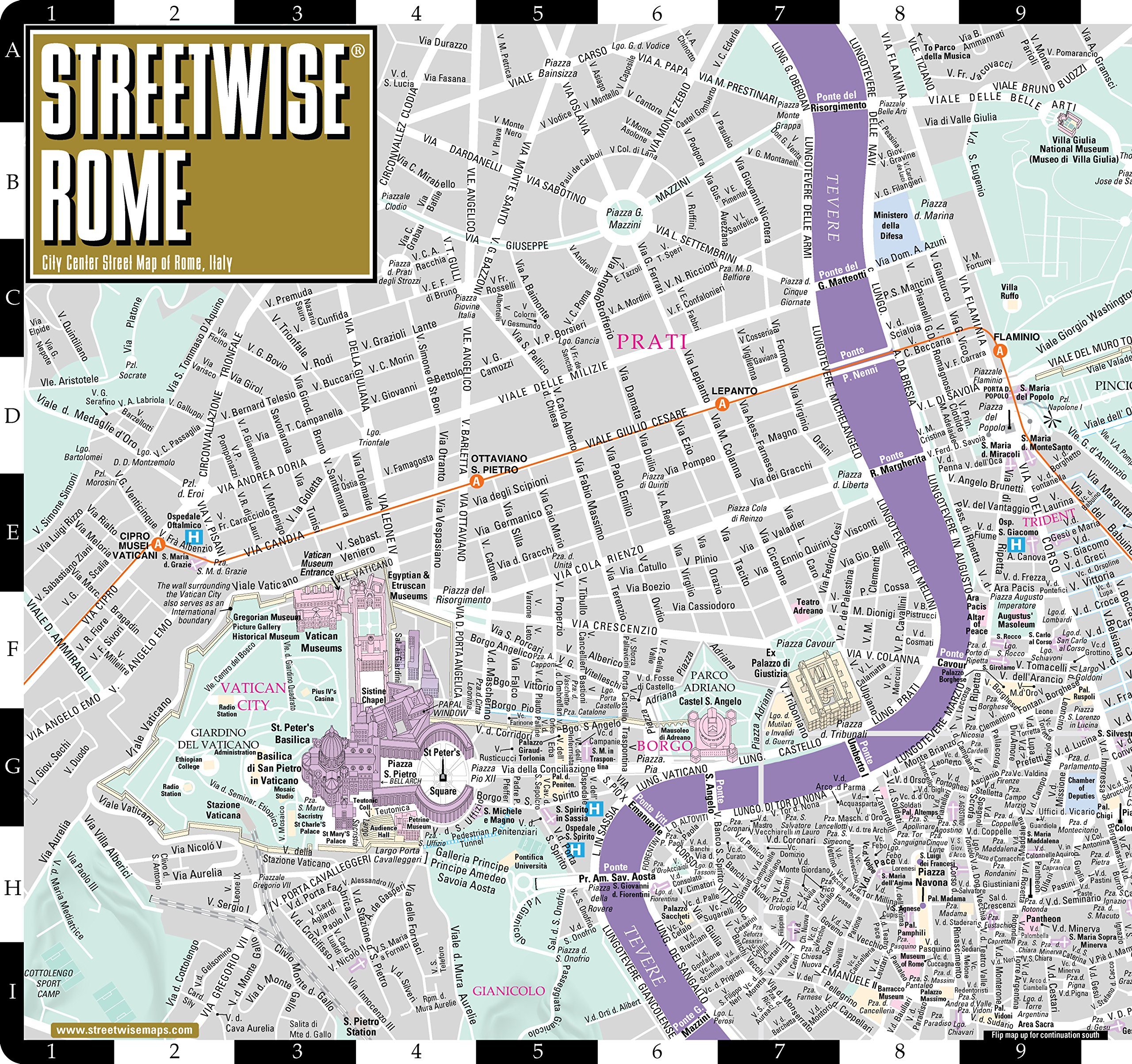 Streetwise Rome Map - Laminated City Center Street Map of Rome ... on