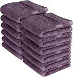 Utopia Towels Premium 700 GSM Washcloths Towels Set (12 Pack, Plum, 12x12 Inches) Multi-purpose Extra Soft Fingertip towels, Highly Absorbent Face Cloths, Machine Washable Sport, and Workout Towels