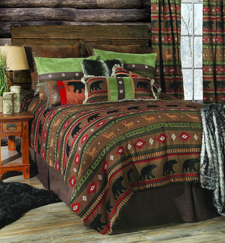 Amazon Com Carstens Inc Carstens Forest Walk 5 Piece Rustic Cabin Comforter Queen Bedding Set Brown Home Kitchen
