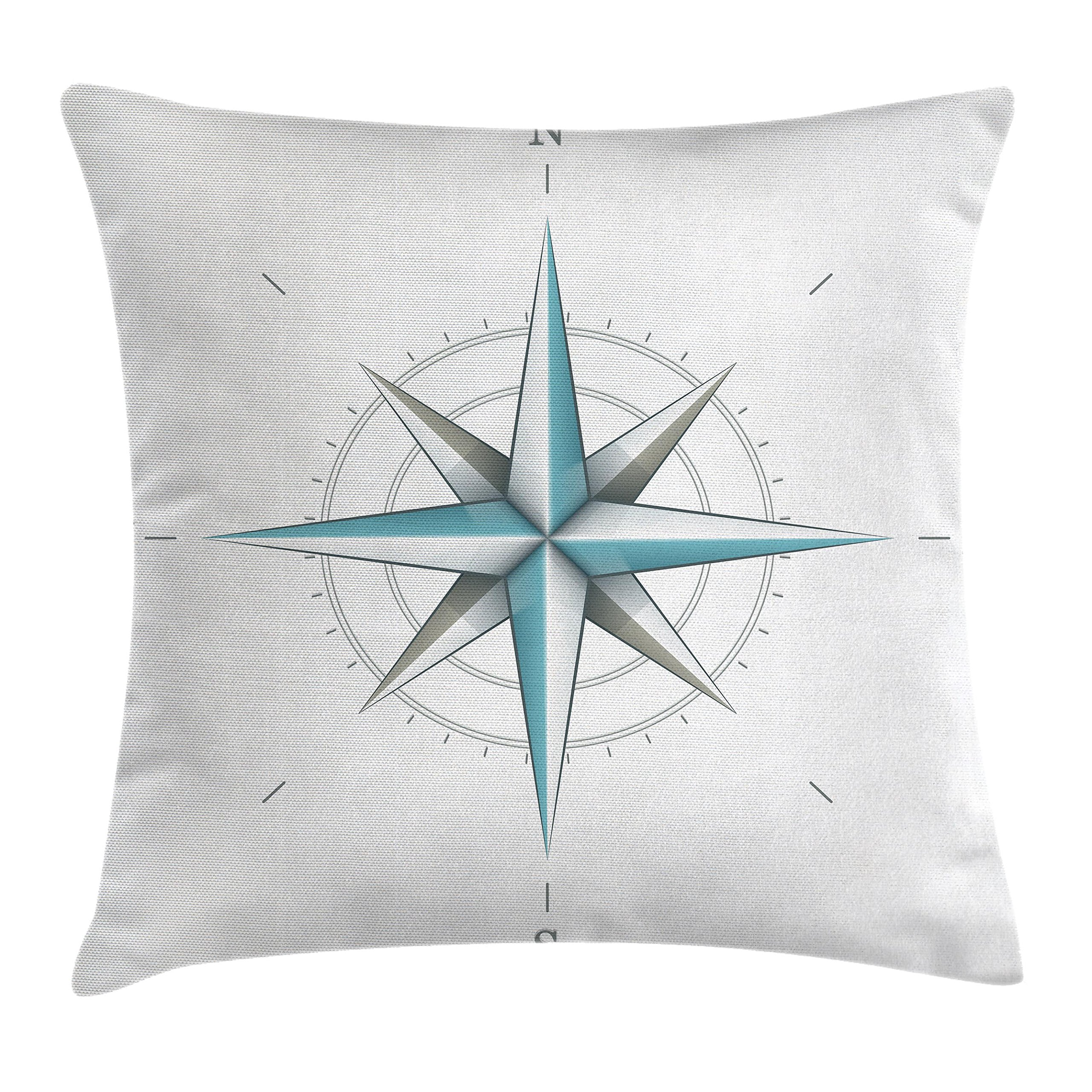 Ambesonne Compass Throw Pillow Cushion Cover, Antique Wind Rose Diagram for Cardinal Directions Axis of Earth Illustration, Decorative Square Accent Pillow Case, 18 X 18 Inches, Teal and Dimgray