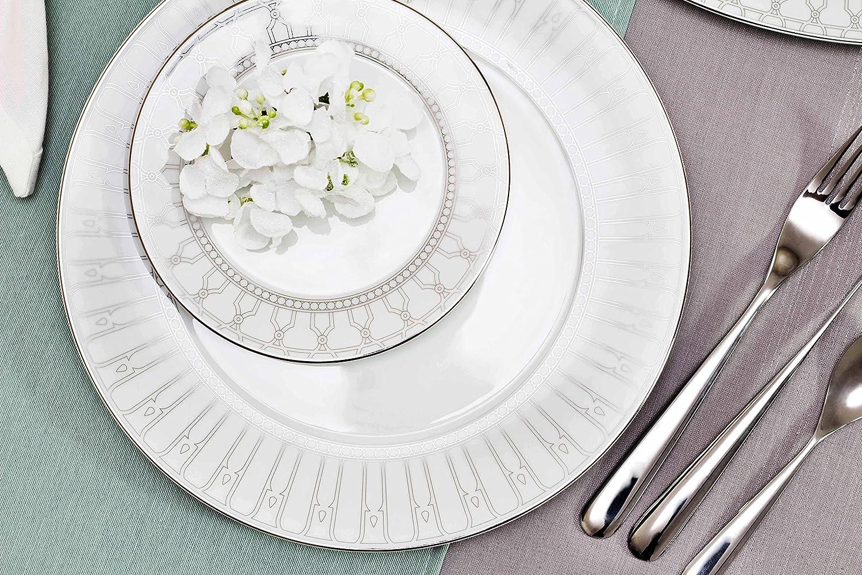 Porcel Allegro Hondo, Porcelana, Blanco y Plata, 22 cm: Amazon.es ...