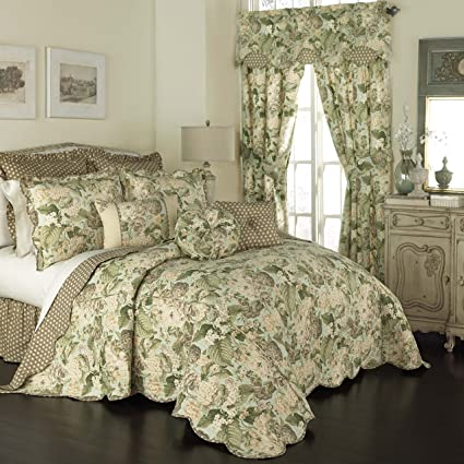 Amazon WAVERLY Garden Glory Bedspread Collection 110x96 Mist