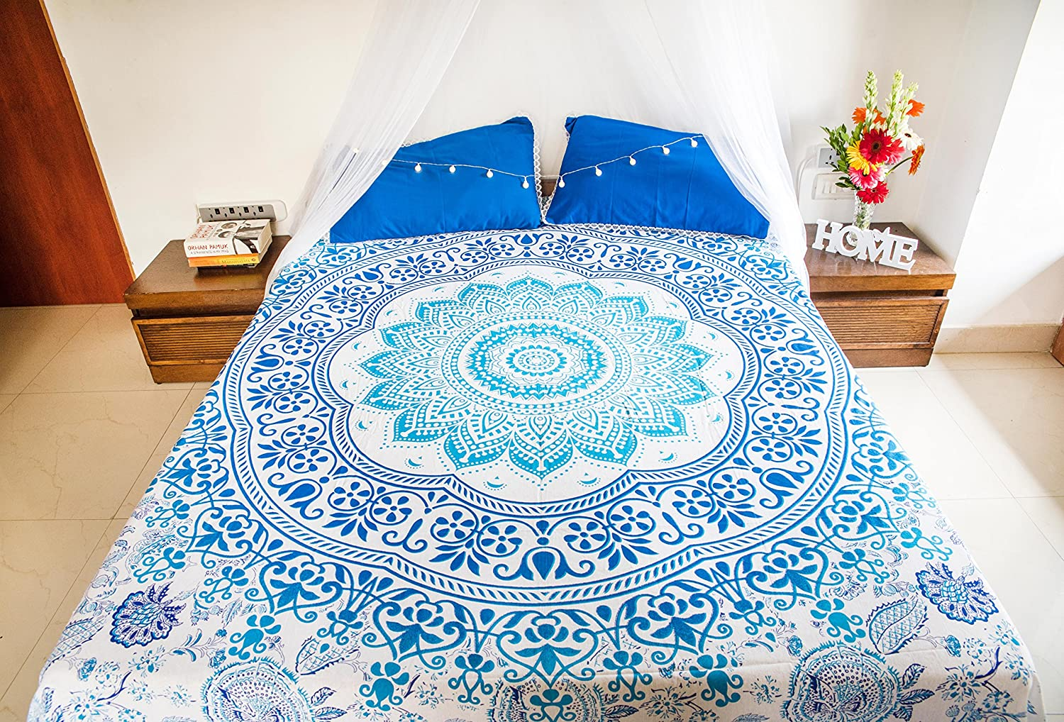 Indian Psychedelic Mandala Bed sheet Hippie Bedding Set Cotton Tapestry Throw