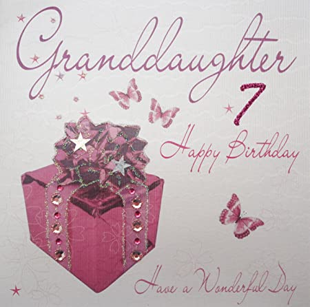 WHITE COTTON CARDS Granddaughter 7 Happy Handmade 7th Birthday Card Pink Present