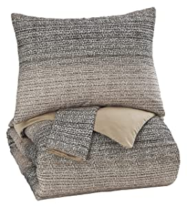 Ashley Furniture Signature Design - Arturo King Duvet Cover Set - Includes Duvet & 2 Pillow Shams - Cotton - Natural/Charcoal