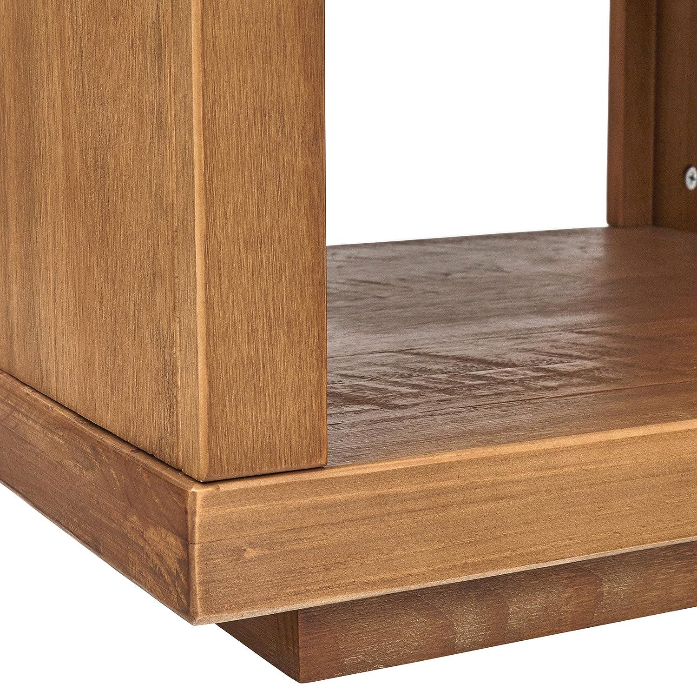 Rivet Eastport Industrial Bed Side Wood Nightstand, 21.7 W, Oak Finish