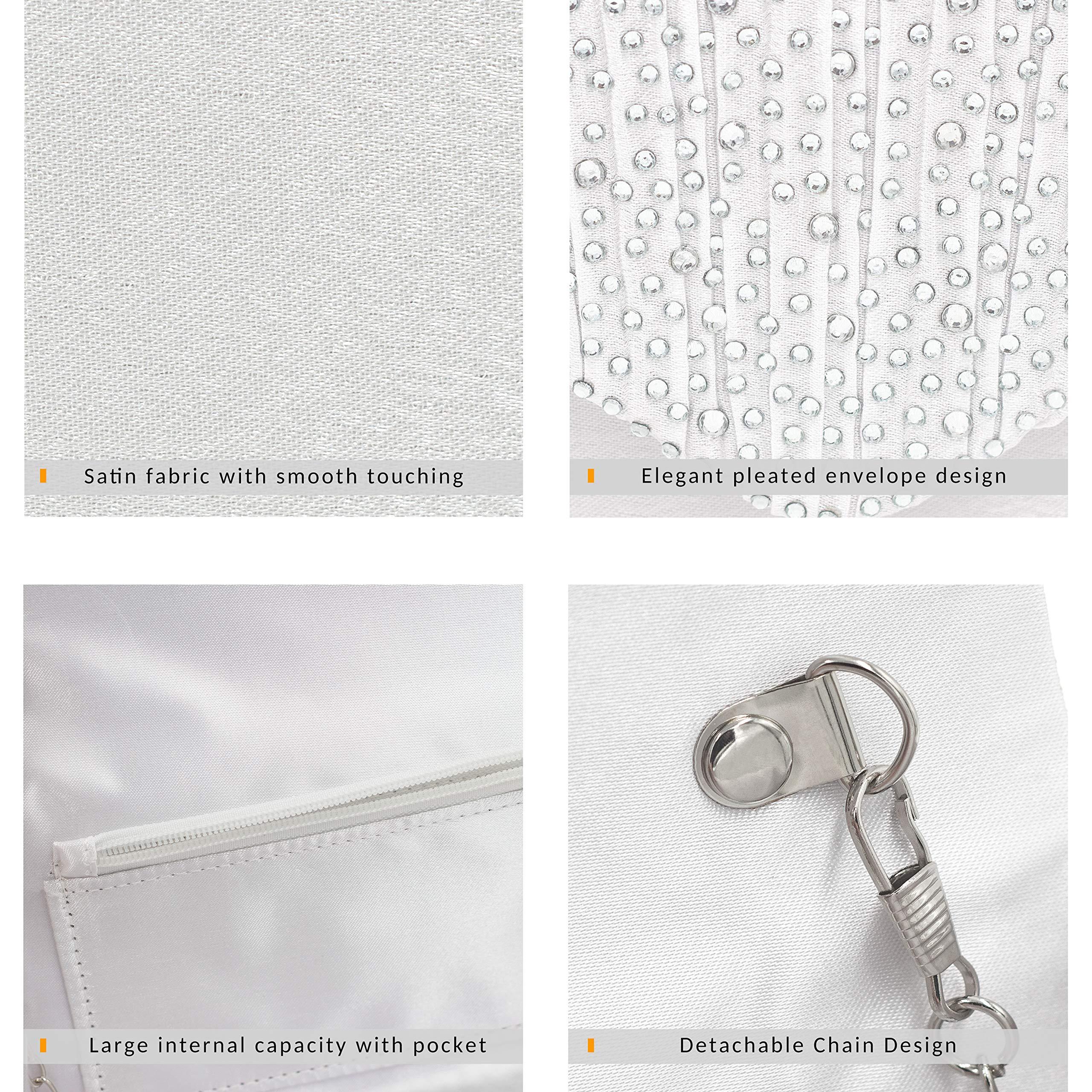 Milisente Clutch Purses for Women evening Glitter Wedding Purse Crystal Envelope Clutches Shoulder Bags (White) by Milisente (Image #4)