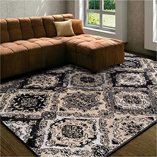 Superior Designer Hayden Area Rug Collection, Intricate Damask Ogee Pattern, 6mm Pile Height with Jute Backing, Affordable and Beautiful Rugs – 8 x 10 , Black
