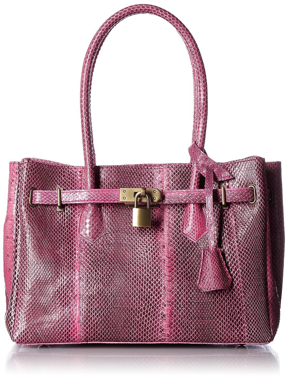 [プライアブル] PLIABLE ヘビ革 鍵付ハンドバッグ B01ELHTOMC ピンク ピンク