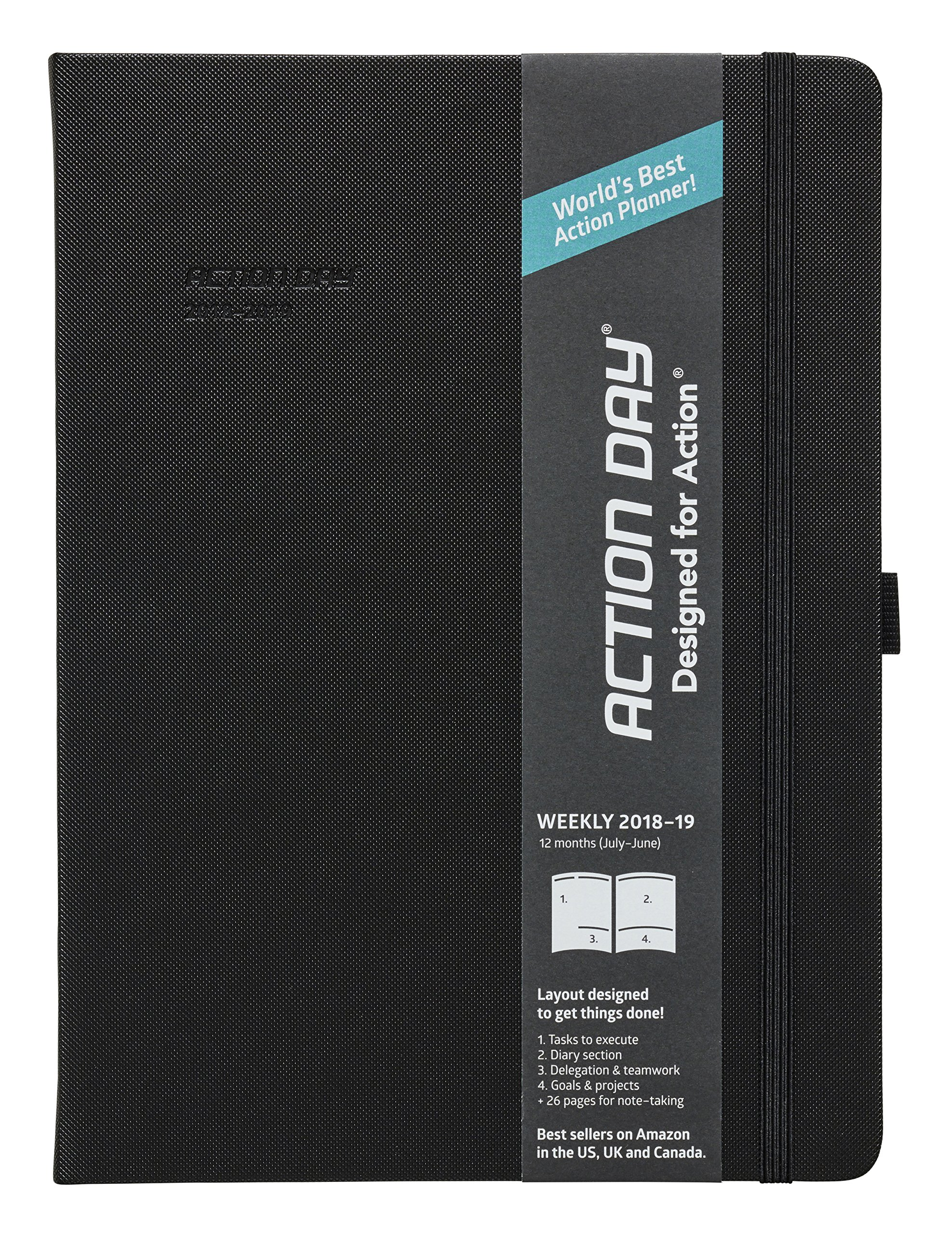 Action Day Academic Planner 2018-2019 - World's Best Goals & Action Layout That Gets Things Done & Increase Productivity - Daily, Weekly, Monthly, Yearly Organizer (8x11,Thread-Bound,Black)