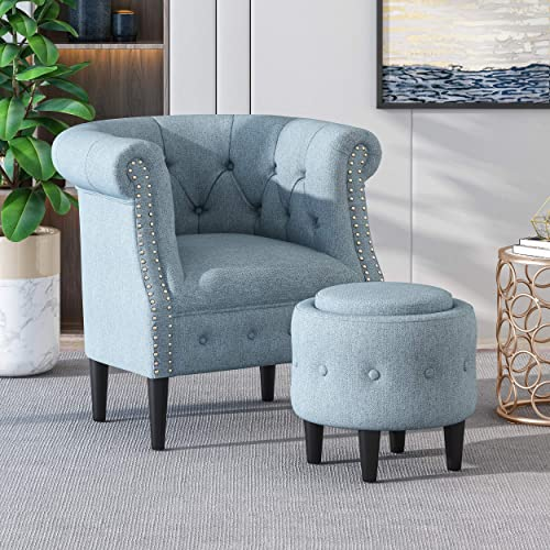 Leila Petite Tufted Fabric Chair and Ottoman Set, Light Blue and Dark Brown