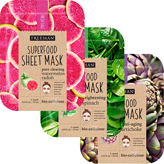 Freeman SuperFoods Sheet Mask - Natural Ingredients, Pore Cleaning, Anti-Aging, Brightening (Pack of 3) best sheet mask