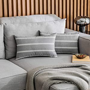 Home Brilliant Grey Pillow Covers Super Soft Striped Pillowcases for Living Room Senior Man Holidays, 2 Pieces, 12x20 inches(30x50 cm), Gray