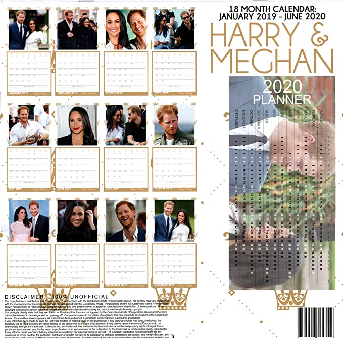 The Royals Harry And Meghan December 2020 Calendar Amazon.: Harry & Meghan The Royal Wedding 18 Month Calendar