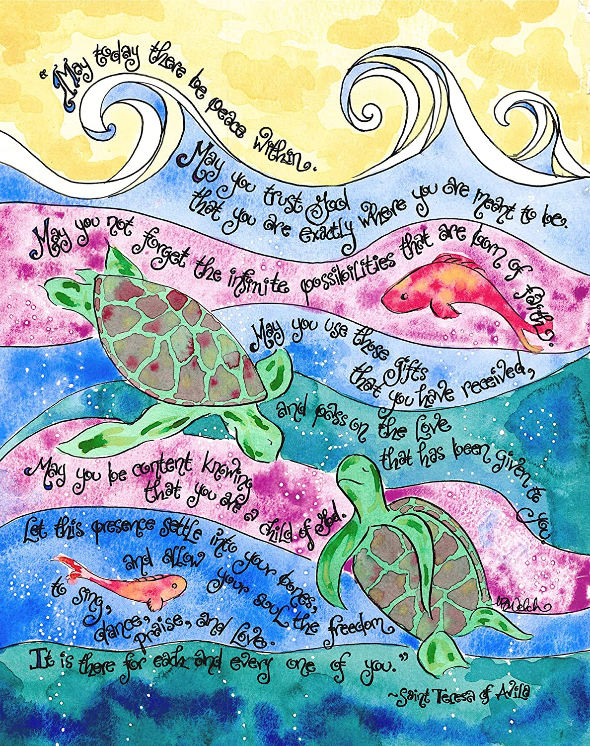 Sea Turtles 5x7 - Catholic Confirmation Gift with St Teresa of Avila Prayer