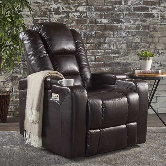 Christopher Knight Home 302046 Everette Power Motion Recliner Brown
