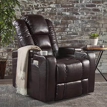 Superbe Everette Power Motion Recliner | USB Charging Port | Hidden Arm Storage |  Assisted Reclining Furniture