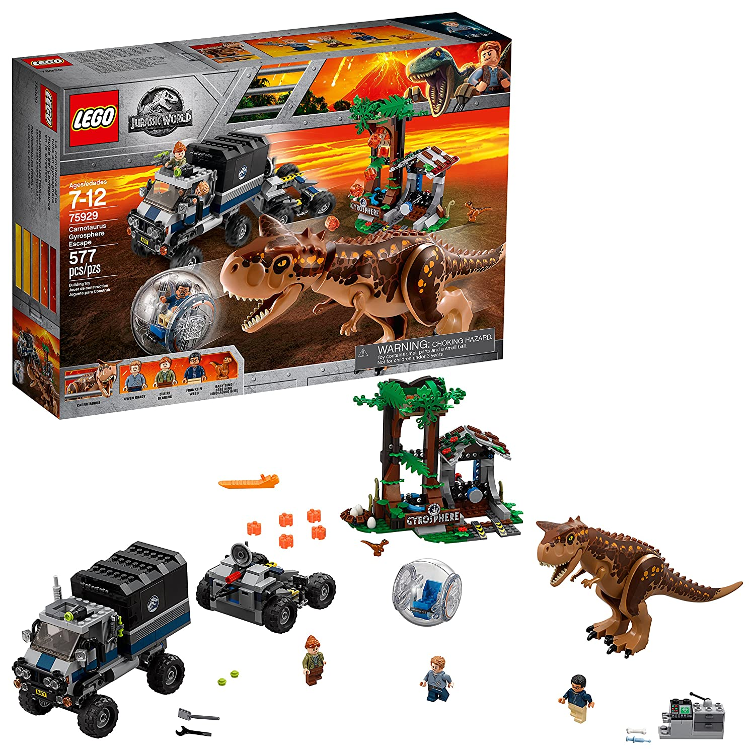 LEGO Jurassic World Carnotaurus Gyrosphere Escape 75929 Building Kit (577 Pieces)