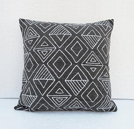VLiving Azteca patrón funda de almohada, carbón vegetal ...