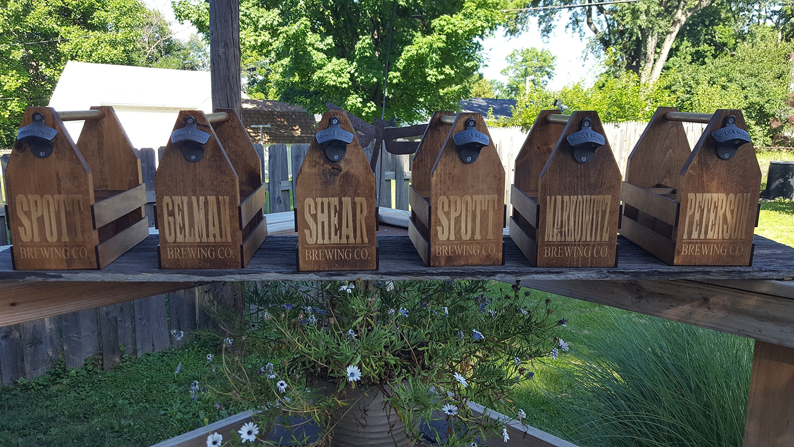 Group of Six Customized Brewing Company Beer Caddies