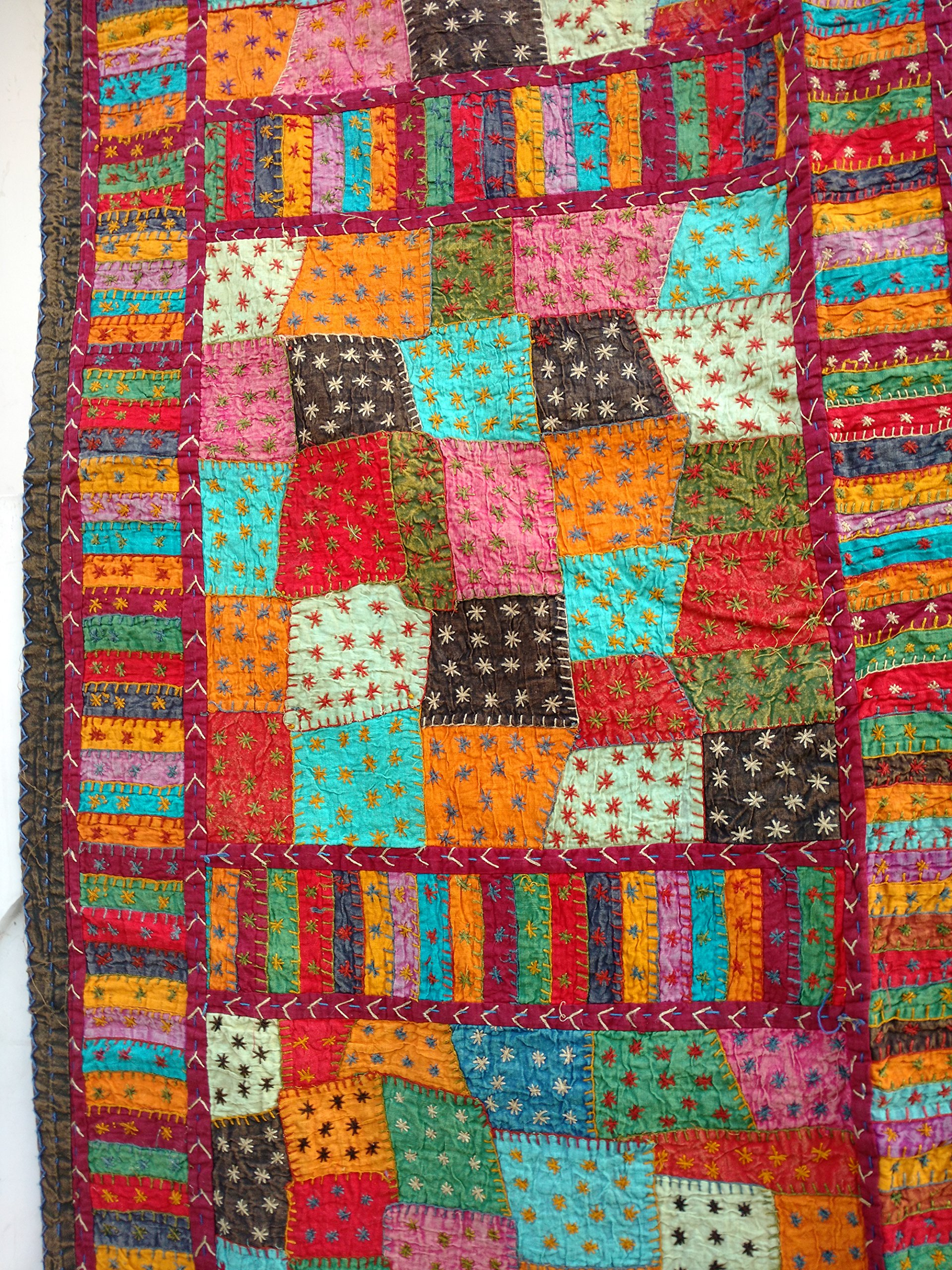 Rastogi Handicrafts India Ethnic Handmade Applique Jogi Work Cotton Double Bedcover Queen size Multi colored Bedsheet cover (MULTI COLOR 20 BOXES) by Rastogi Handicrafts (Image #3)