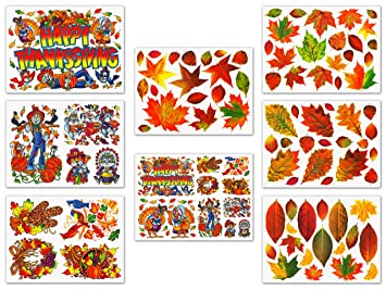 and fall leaves window clings decals decorations kit - Window Clings