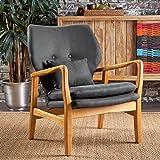 Helena Mid Century Modern Dark Grey Fabric Club Chair